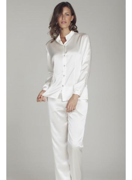Foemina-pigiama-donna-in-raso-boselli-modello-aperto-con ...