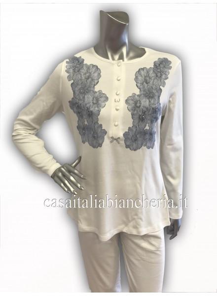 34f106451b6d7 LIU-JO pigiama donna invernale con 5 bottoni in caldo cotone art CASSIOPEA