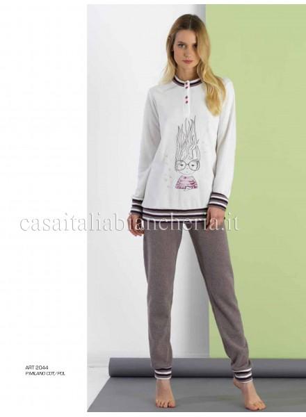 acquisto economico 2aba0 f027e SISTERS pigiama donna invernale in punto milano modello serafino